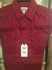Ely Cattleman Men's Western Shirt 100% Cotton Short Sleeve Burgandy Geometric