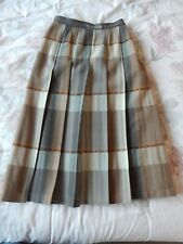 Vintage Jaeger Pleasted Check Skirt 100% Wool Beige Chedck Size 10