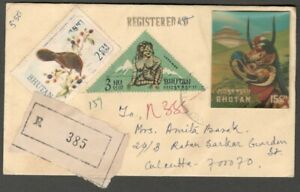 AOP Bhutan 3D stamps Japanese 5ch Mask on registered cover to India