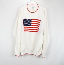 Haband Mens Large Asap Rocky Long Sleeve American Flag Crewneck Sweater White