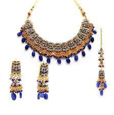 Charming Gold Tone Necklace Blue Stone CZ Wedding Bridal Jewelry Set