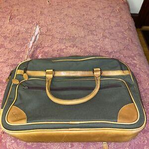 LL Bean Leather Trim Canvas Laptop Shoulder Bag No Strap Green ITEM ID 293969