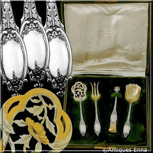Maillard French All Sterling Silver 18k Gold Dessert 4 pc w/box Neoclassical