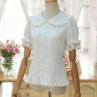 Sweet Lolita Artistic Vintage Kawaii Lace Blouse Short Sleeve Tops Moe#41-QN136