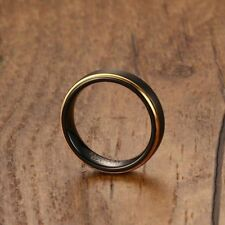 Size 9# Men Tungsten Carbide Wedding Ring Black Band Gold Line Promise Jewelry