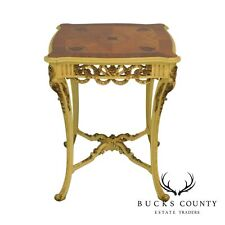 French Louis XV Style Vintage Painted Base Inlaid Top Side Table