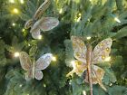 5 Vintage Clip On Butterfly Christmas Tree Ornaments Made In Japan Gold Silver