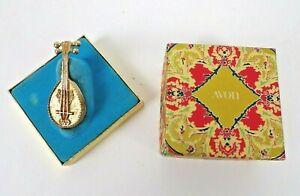 "Vintage Avon Mandolin Solid Perfume Glace Holder Ornate Gold Tone 2 3/8"" Long"