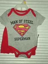 "NEW WITH TAGS DC COMICS Newborn BOY SUPERMAN SAYING ""MAN OF STEEL"" 0-3 MONTHS"
