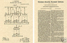 US PATENT for BEER BREWING Art Print READY TO FRAME!!!!! Louis Pasteur 1873