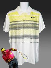New NIKE TENNIS DriFit Polo Shirt White Yellow Waves M