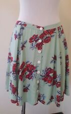 Minkpink Womens Skirt Small Mint Red Roses Flowers Button Down Front Cute New