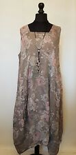 "NEW LaGeNLooK ""ARTIST"" QUIRKY BOHO ""floral"" panel LINEN DRESS,pocket, chest:52!"""