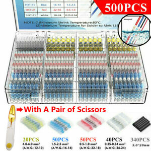 500Pcs Solder Seal Sleeve Solder Wire Connectors Heat Shrink Butt Terminals IP67