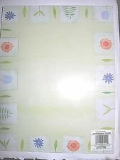 """100 Decorated Flowers Tulips Daisy Ferns on Green Stationary Paper NIP 8.5 x 11"""""""