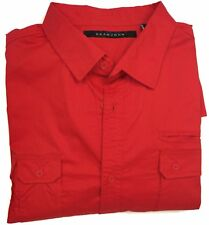 Sean John Men's Big & Tall Flight Shirt Size 3XB Red Cotton Button Down
