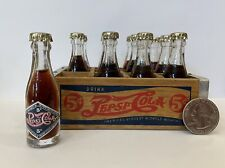 "12 Miniature 2.5"" Glass Pepsi Cola 5¢ Double Dot Mini Bottles w/ Wood Crate Soda"
