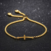 Cross Adjustable Silver Yellow/Rose Gold GP Stainless Steel Bangle Bracelet Gift