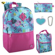 5 in 1 Full Size Backpack Set Girls Heart Pattern For School Polyester Keychain