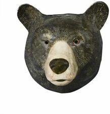More details for quail ceramics black bear head wall mounted flower vase interior animal pottery