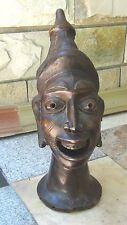 ANTIQUE AFRICAN TRIBAL BRONZE HEAD OF MAN SCULPTURE W/ELABORATE CONICAL HEADRESS