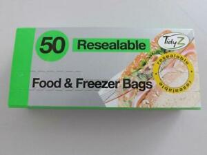 Tidyz Resealable Sandwich Food & Freezer Bags 17cm x 19cm 50 Pack