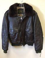 Vintage Genuine Leather Flight Bomber Sherpa Lined Jacket Sz 44 Brown Talon Zips