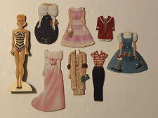 Barbie Wooden Paper Doll with 7 Outfits Freestanding Play Set Dress-Up Toy