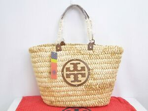 MNT Auth TORY BURCH Straw Large Audrey Tote Bag Free Shipping 16180284700 P