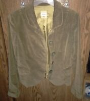 Women's Solid Green Suede Fossil Jacket. Fully Lined. Size Small