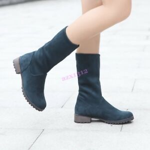 Vogue Womnens Shoes Mid Calf Boots Chunky Heels Suede Round Toe Casual US4-10.5