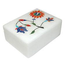 Caja piedra de talco 10x7x4cm blanco colorido incrustaciones caja regalo hogar