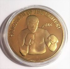 """MUHAMMAD ALI ""  999 24k Gold plated coin, Sportsman Of The Century (30)"