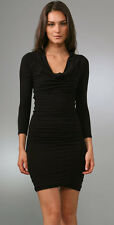 James Perse Sz 3 L Black Cowl Neck Fitted Long Sleeve Cotton Stretch Dress $225