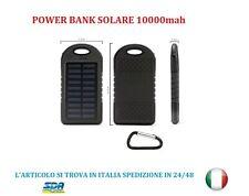 Power BANK SOLARE 10000 mah 2 USB Ultra Slim LED Caricabatteria samsung apple