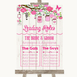 Wedding Sign Poster Print Pink Rustic Wood Who's Who Leading Roles