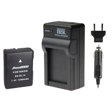 PT EN-EL14 Battery + Charger Kit for Nikon D3300, D3200, D3100 SLR