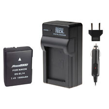 Premium Tech EN-EL14 Battery with Charger for Nikon D5100, D5200, D5300, D5500