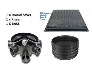 Amazon Civils 450mm Inspection Chamber Manhole Base, Riser, SQUARE Cover & Frame