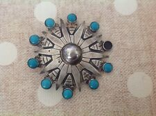 Persian Turquoise MMC Taxco Mexico Sterling Silver Brooch Pin Pendant