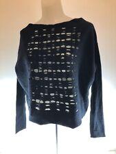 Sarah Pacini Black Distressed viscose and merino wool Long Sleeve sweater Italy