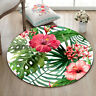 Tropical Flowers Leaves Yoga Mat Rugs Floor Bathmat Round Rug Non-slip Carpet