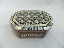 """Egyptian Wood Handmade Octagonal Mother of Pearl Jewelry Box 5.5"""" X 3.5"""" #530"""