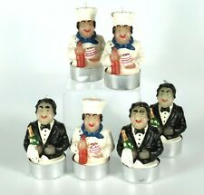 Six Chef & Maitre'D Cake Toppers  Figural Candle Cake Toppers  Party Candles