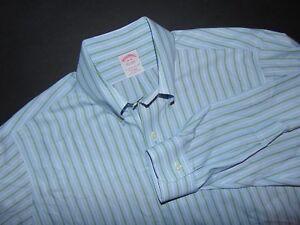 BROOKS BROTHERS NON-IRON Dress Shirt ~ 16 X 34 Sleeve ~ Blue Striped