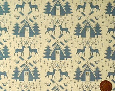 AN XMAS DESIGN OF REINDEER & CHALETS IN GREY ON ECRU - LINEN LOOK COTTON F.Q.'S