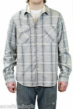STEVEN ALAN Gray Plaid Vintage Workshirt Button Down Shirt F10-MST28FL NWT $198