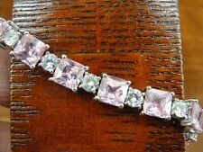 FAS Square Pink Stones Clear Rhinestones Sterling Silver Link BRACELET