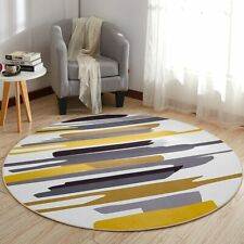 Luxury Modern Round Carpet/Rug. Mustard/White European Theme. Non-Slip