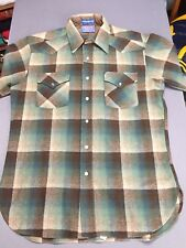 Pendleton High Grade Western Wear Wool Pearl Snap Plaid Shirt Men's Medium M EUC